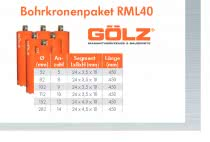 GÖLZ RML 40 Diamant-Bohrkronenpaket für Beton 6 Stück