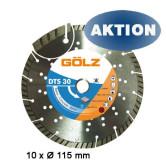 GÖLZ Diamanttrennscheibe DTS 30 115 mm für Beton 10 Stück