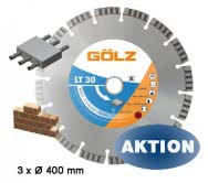 GÖLZ LT 30 Diamanttrennscheibe 400 mm 25,4 mm für Beton 3 Stück
